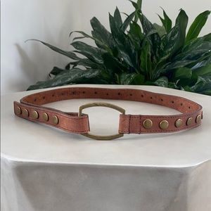 GENUINE LEATHER Gold Brass Studded Tam Brown Belt